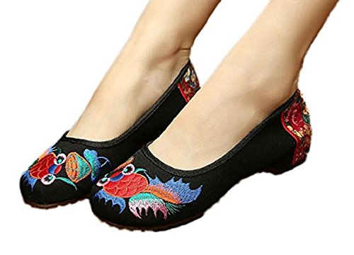 Platform Shoes With Goldfish (Tianrui Crown Women's Embroidery Goldfish Oxfords Sole Casual Dance Shoe Slip-on Loafer)