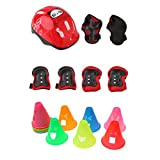 MagiDeal Kid Roller Skating Bike Helmet Knee Elbow Wrist Pad +12pcs Assorted Color Cones Red