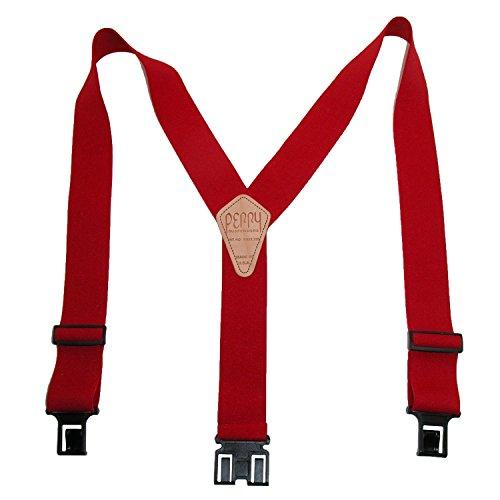 Perry Suspender Mens 2 Elastic Original Adjustable Suspenders (Red, Big and Tall)