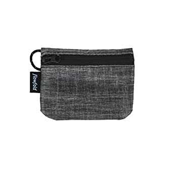 Flowfold RFID Blocking Coin Pouch - Lightweight, Secure Travel Wallet - Coin, Cash, Card Wallet - Made in USA - Vegan - Grey - Small