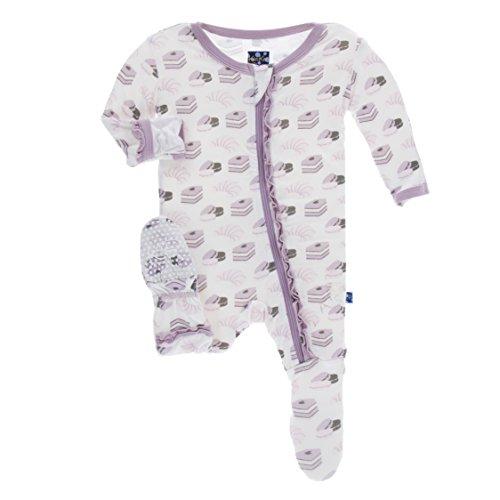 KicKee Pants Little Girls Print Muffin Ruffle Footie with Zipper - Natural Sweet Treats, 18-24 Months