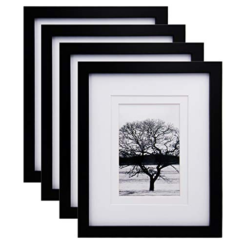 Egofine 8x10 Picture Frames 4 PCS - Made of Solid Wood HD Plexiglass for Table Top Display and Wall Mounting Photo Frame Black (Frames Photo X 8 10)