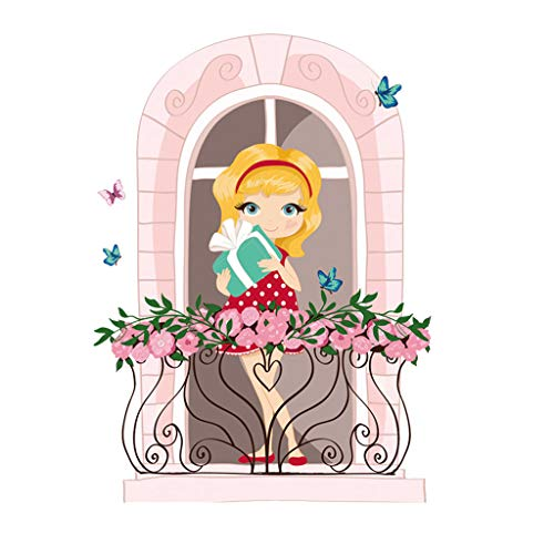 Wall Decor Sticker for Baby Girls Pulison Decal Fashion Mobile Creative Wall Affixed With Decorative Wall Popular Woman Peel and Stick Removable Wall Stickers for Kids Nursery Bedroom Living Room -