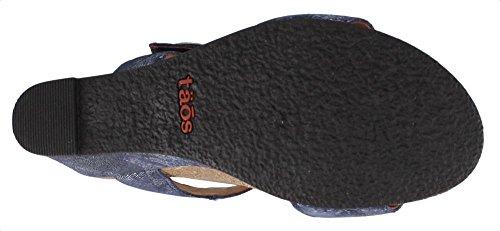 Taos Footwear Womens Carousel 2 Sandalo In Pelle Blu Floreale