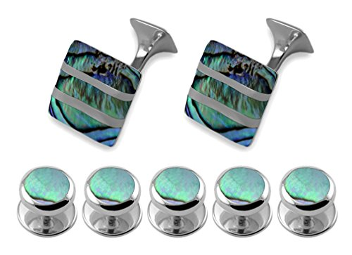 Sterling oyster shell wave Cufflinks Tie Clip Box Set