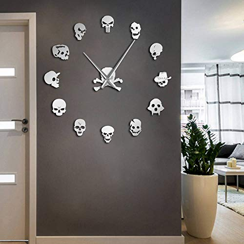 (The Geeky Days Skull Heads Giant DIY Large Wall Clock with Mirror Effect Wall Art Home Decor Frameless Big Time Clock Watch(Silver))
