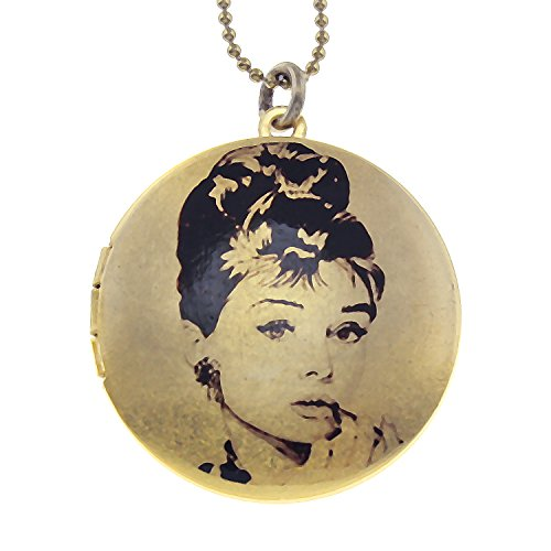 Audrey Hepburn 'Breakfast at Tiffanys' Brass Photo Locket Pendant - Art Locket