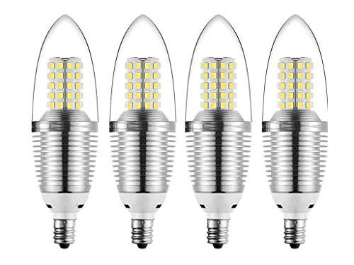 JKLcom E12 LED Candelabra Bulb 12W LED Candle Bulbs,90-100W Light Bulbs Equivalent,E12 Candelabra Base,Daylight White 6000K,Non-Dimmable,Torpedo Shape,Pack of 4