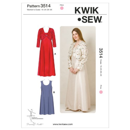 Kwik Sew K3514 Dresses and Jacket Sewing Pattern, Size 1X-2X-3X-4X (Dress Sew Princess)