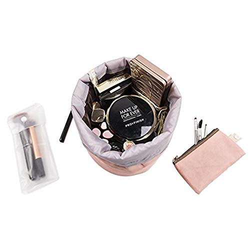 Zoevan Waterproof Cosmetic Bags Makeup Bag Travel Barrel Cases Kit Organizer Bathroom Storage Carry Case Toiletry Bags Multifunctional Bucket Toiletry Bag Polyester 300T (Pink)