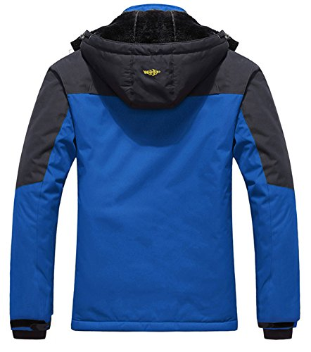 Wantdo Men's Waterproof Mountain Jacket Fleece Windproof Ski Jacket US M Sky Blue M