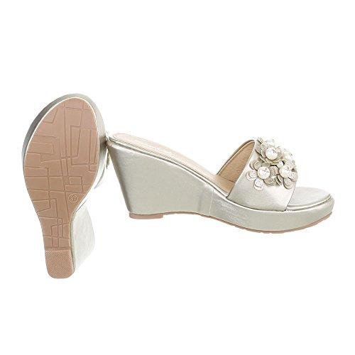 Ital-Design Pantoletten Damenschuhe Keilabsatz/Wedge Keilabsatz Sandalen & Sandaletten Gold B004BQ-SF