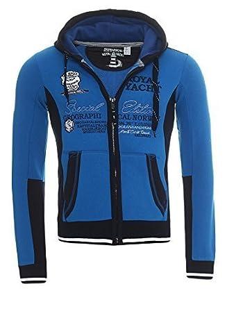 Geographical Norway Hombres Sudadera chaqueta chaqueta con capucha sudadera chaqueta de entretiempo CON CAPUCHA Y estampado CL 0219 - Azul Real, ...