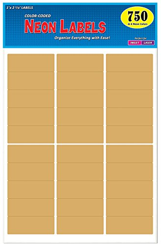 Pack of 750, 1 x 2-5/8 inch, Kraft Brown, Mailing Address Labels for Laser and Inkjet Printers, Rectangle, Assorted Neon Fluorescent Colors, 1 x 2.625 - Kraft Labels Address Brown