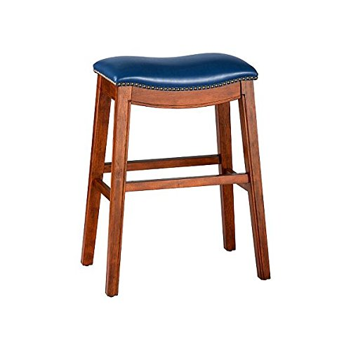 """Price comparison product image Navy Blue 30"""" Backless Bar Stool Premium Wood Finish Faux Leather Seat Saddle Stool Nailhead Accents"""