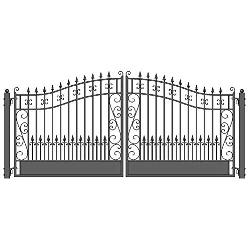 ALEKO DG14VEND Venice Style Dual Swing Galvanized Steel Driveway Security Gate 14 x 6 Feet Black