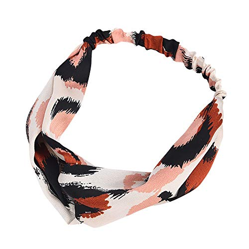 - Boho Headbands for Women, QueenMM Womens Vintage Leopard Printed Criss Cross Elastic Head Wrap Twisted Cute Hairband
