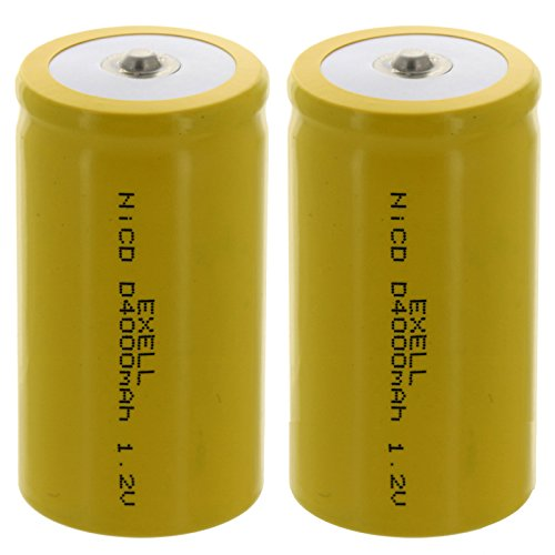 2x D Size 1.2V 4000mAh NiCD Button Top Rechargeable Batteries for high power static applications by Exell Battery