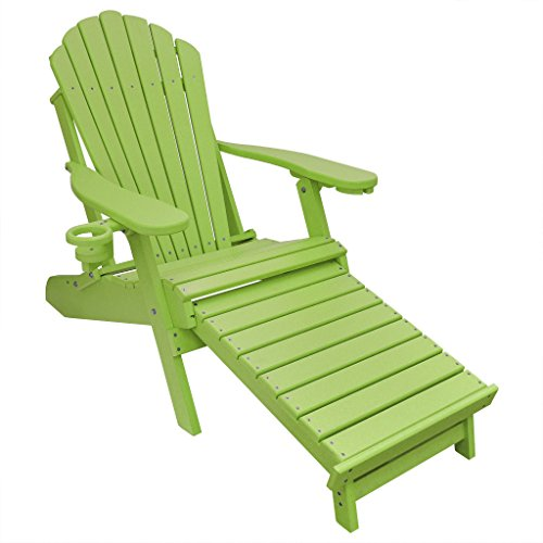 ECCB Outdoor Outer Banks Deluxe Oversized Poly Lumber Folding Adirondack Chair with Integrated Footrest (Lime) ...