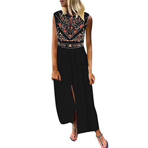 Xinantime Woman Printed Sleeveless Skirt Casual V-Neck Maxi Dress Ladies Split Hem Baggy Long Dress Black