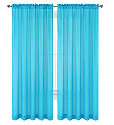 """WPM WORLD PRODUCTS MART Drape/Panels/Treatment Beautiful Sheer Voile Window Elegance Curtains for Bedroom & Kitchen, 57"""" inch x 84"""" inch, Set of 2"""