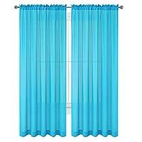 """WPM 2 piezas Hermosa ventana transparente Elegance Cortinas /cortinas /paneles /tratamiento 60 """"w x 84"""" l (turquesa)"""