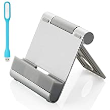 First2savv sliver Universal Aluminum Metal Desktop Holder Table Stand Dock Docking station for all mobile phone cell phone iPad tablets - (iPod/ipad/iPhone 6S/6 plus/6/5/4s/4/3GS/3G/Xperia/Galaxy S6 edge/S6/A7/A5/A3/Galaxy tab/Note 5/apple ipad mini & Apple iPad air& Apple iPad mini with retina display Huawei Mate 7 etc) + USB lamp
