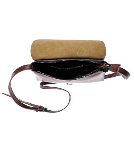 ZLYC Bolso de cruz de hombro de cuero mini Satchel del estilo minimalista hecho a mano para mujeres rojo oscuro