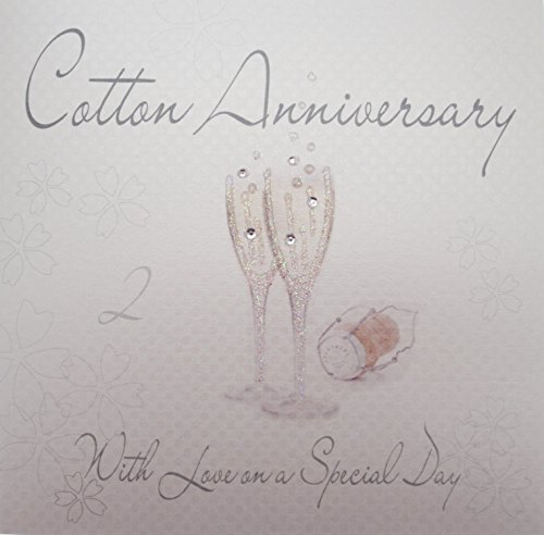 WHITE COTTON CARDS Cotton Love On Your Special Day, Handmade 2nd Anniversary Card (Champagne Glasses)