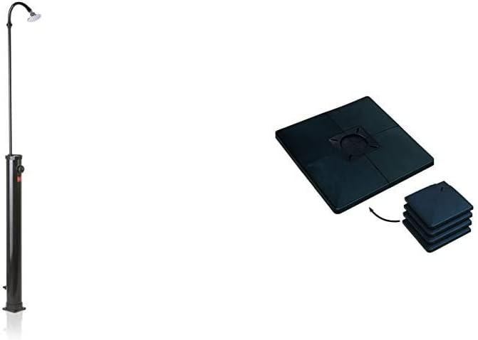 Gre AR1009 - Ducha Solar Exterior de PVC Negro, Capacidad de 9 litros + K2O KSM1007 - Base Portátil Baikal para Montaje de Ducha Solar 50x50x3,2 cm