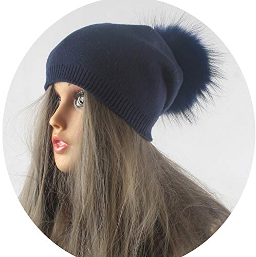 Jester Hats Wholesale (Winter Autumn Pom Pom Beanies Hat Women Knitted Wool Skullies Casual Women's Cap Real,Dark Blue Fur)