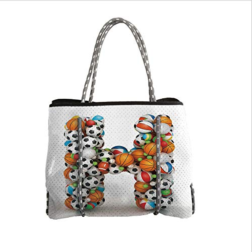 iPrint Neoprene Multipurpose Beach Bag Tote Bags,Letter H,Letter H Stacked from Gaming Balls Alphabet of Sports Theme Competition Activity Decorative,Multicolor,Women Casual Handbag Tote Bags -