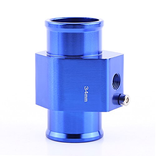 (Universal Water Temp Joint Pipe, Keenso Aluminum Water Temp Temperature Joint Pipe Sensor Gauge Radiator Hose Adapter, Blue 26mm - 40mm (34mm))