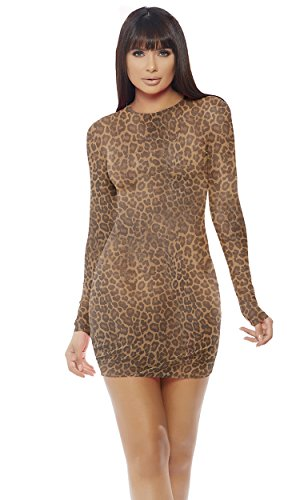 Mini Forplay - Forplay Women's Mesh Mini Dress, Leopard, L/XL