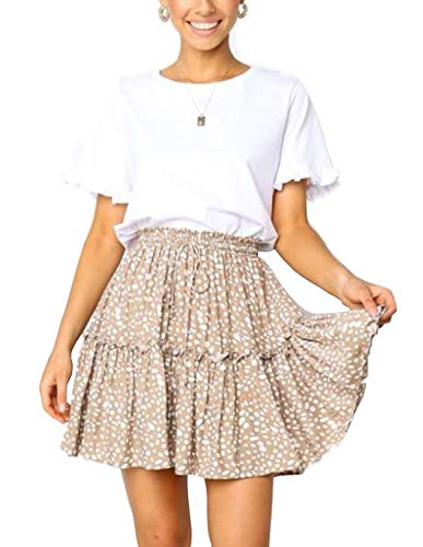 ChainJoy Summer Skirts for Women, Fashion High Waist Boho A-Line Maxi Skirt Khaki L
