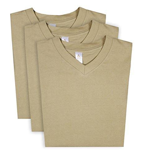 T-shirt Heavyweight Plus Size - Access Men's Heavyweight Short Sleeve Cotton V-Neck T-Shirt (Pack of 3) Khaki XX-Large