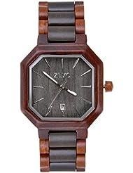 ZLYC Men Handmade retro Classic Quartz Wooden wrist watch with Calendar