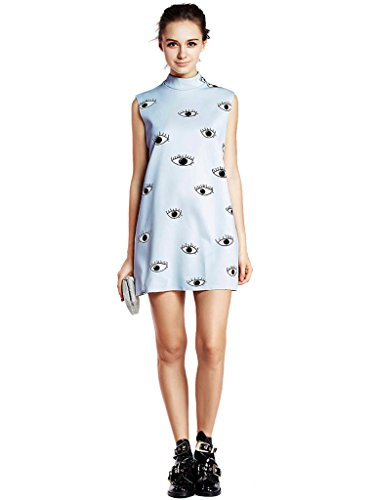 Choies Women's Limited Edition Eyes Print Sleeveless Dress S Blue