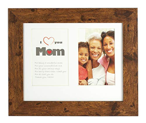Golden State Art 8x10 Frame for Two 4x6 Photo - White Mat with Cream core & 2 Openings - Gift for Mom - Collage Picture Frame - Wall or Table-Top Easel Stand, Real Glass (Dark Walnut Brown) (Cream Photo Frame Collage)
