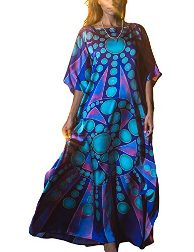 (Bsubseach Women Plus Size Geometric Print Long Bikini Cover Up O Neck Batwing Sleeve Beach Kaftan Dress)