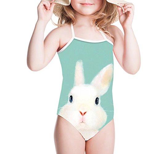 FOR U DESIGNS Summer Swim Wear Blue Rabbit Pattern Girls Swimsuit 5T-6T