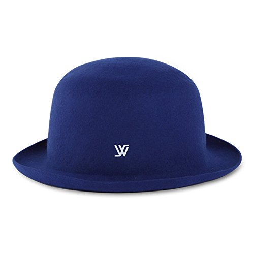 Womens WHITE SANDS MACARON Roll-up Brim Dome Hat Bowler Wool Felt 100% IMPERIAL BLUE (Imperial Bucket Hat compare prices)