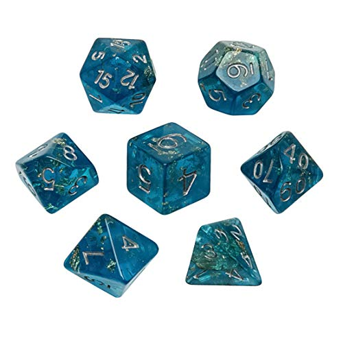 Gold Foil Sapphire - Polyhedral Dice Set, Ocean Blue with Gold Foil DND Dice Sets for RPG MTG Table Games Dice, 7-Pieces