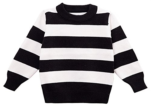 Striped Boys Sweater - Moonnut Little Boys' Crewneck Striped Pullover Sweater,18-24M,black&white