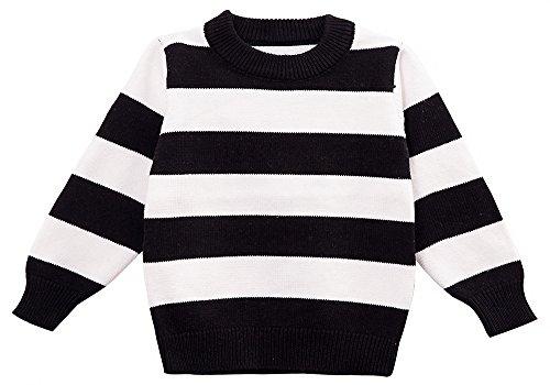 Moonnut Little Boys' Crewneck Striped Pullover Sweater (Baby boy/Toddler) (5T, Black/White)