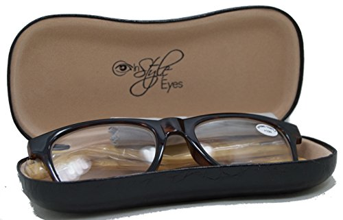 In Style Eyes® Woodster, Classic Wayfarer Bamboo Reading Glasses/Black-Natural/1.00