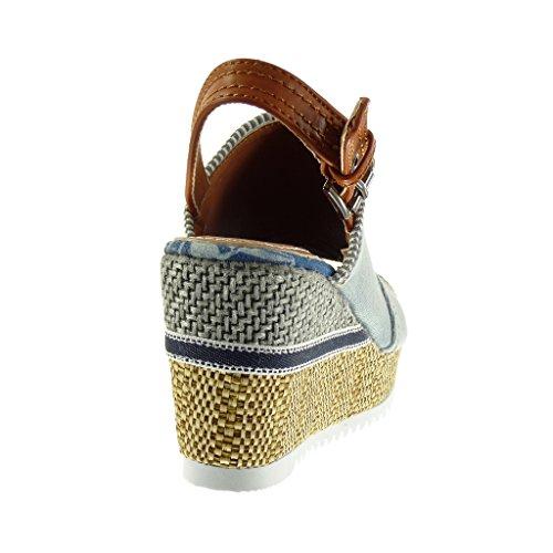 Acabado Peep Toe Mujer Moda Azul Plataforma Mules Hebilla Pespunte Talón Sandalias Angkorly 5 Abierto 8 Trenzado Costura Plataforma cm Zapatillas IqXHv
