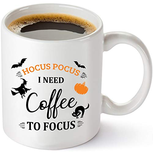 Hocus Pocus I Need Coffee To Focus Funny Coffee Mug - Cute Autumn Halloween Cup For Men, Women, Best Friend, Sister, Her - 11 oz Tea Cup