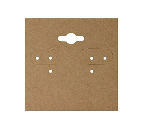 CuteBox 2 x 2 Inch Kraft Earring Jewelry Display Hanging Cards Showcase Hanging Earring Card