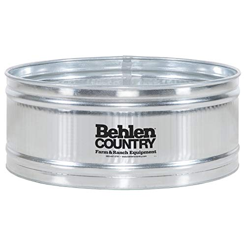 Behlen Country 5′ Galvanized Steel Stock Tank Round Approximately 250 Gallon Livestock Watering Outdoor Garden Pool ()